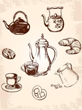 set of vintage coffee and tea icons
