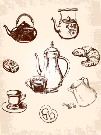 croissant: set of vintage coffee and tea icons