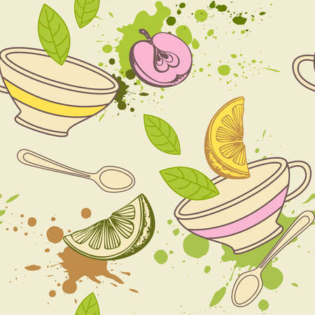 vector seamless pattern with cup and fruits