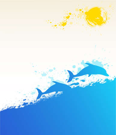 vector summer marine background with dolphins and sun