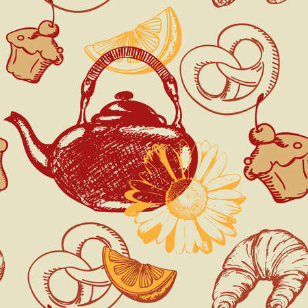 vector seamless pattern with teapot and fruits Stock Vector - 9484089
