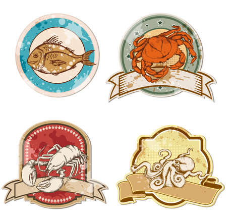 seafood background: set of vector vintage labels with seafood