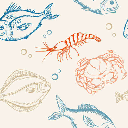 vector seamless pattern with fish, crab and shrimp