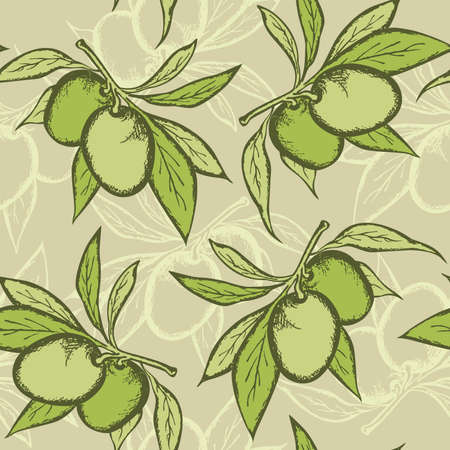vector green seamless pattern with olive branch