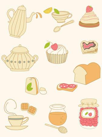 marmalade: set di scarabocchi di caff� e t� Vettoriali