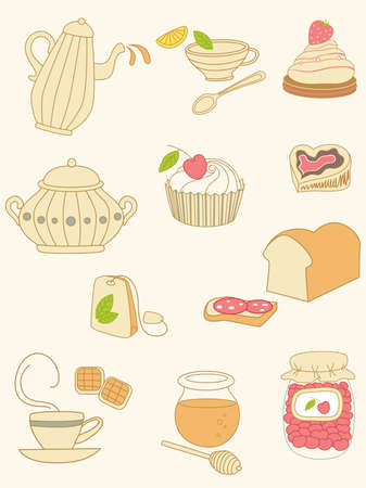 strawberry jam sandwich: set of coffee and tea doodles Illustration