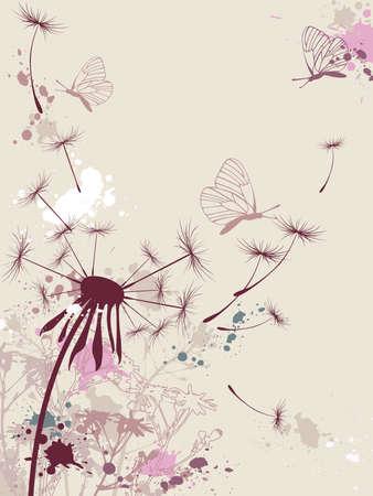 kamille:  floral Background with L�wenzahn und Schmetterling