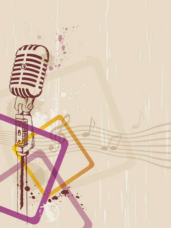retro music background with microphone and blots