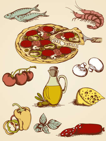 anchovy: set of vector hand drawn pizza icons