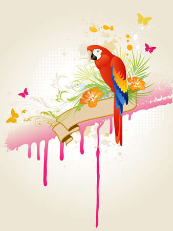 vector tropical summer background with  parrot Vector
