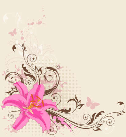 lily vector: vintage vector floral background with pink  lily and ornament Illustration