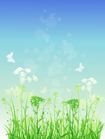 Vector  floral background with green grass and butterflies Stock Vector - 9873562