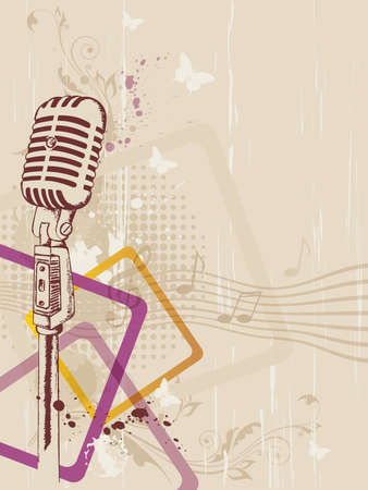 retro music background with microphone and floral ornament