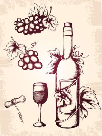 hand drawn vector vintage wine icons Vector
