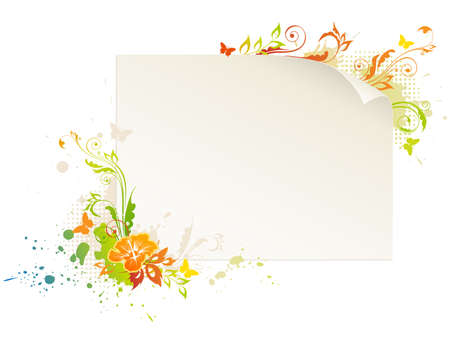 empty sheet of paper with floral ornament and butterflies