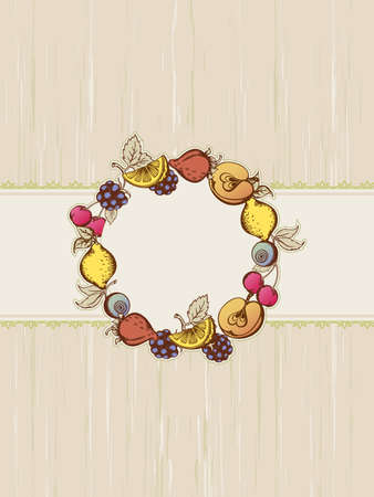 bramble: Vintage frame with berries and fruits