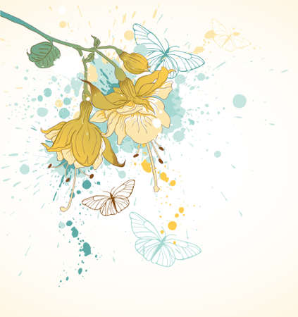 grunge floral background with butterflies and yellow flowers Illustration