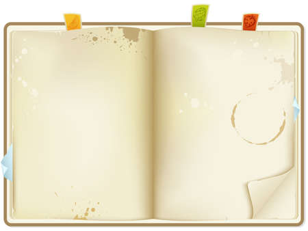 recipe book: vector open old recipe book Illustration