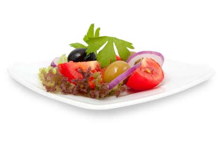 fresh vegetable salad in white dish on white background Stock Photo - 10082970