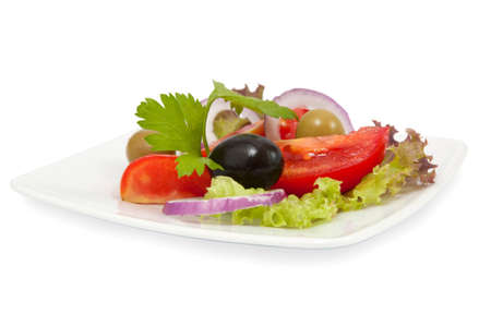 fresh vegetable salad with tomatoes and olives on white background Stock Photo - 10082971