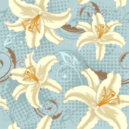 blue floral vector seamless pattern with lily