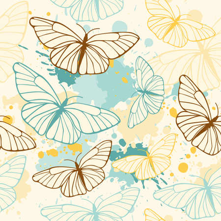 vector seamless pattern with butterflies and blots