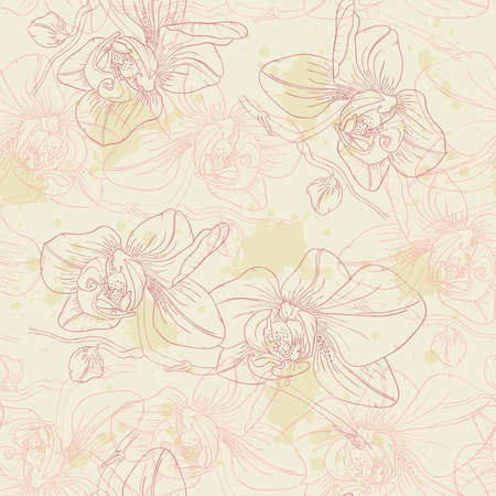 retro floral seamless pattern with orchids Vector