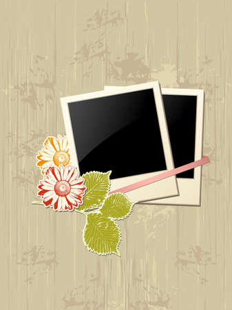 frame with flowers on a grunge background Vector
