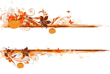 grunge Halloween banner with pumpkin and floral ornament Stock Vector - 10833429