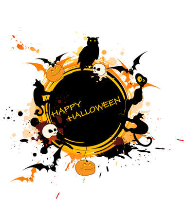 round Halloween banner with animals and pumpkin Vector