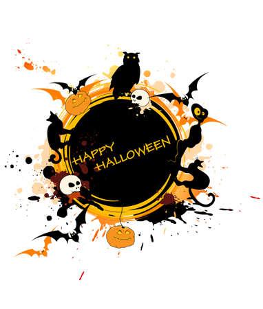 round Halloween banner with animals and pumpkin Vector