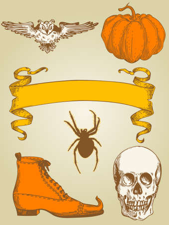 set of vintage hand drawn Halloween objects