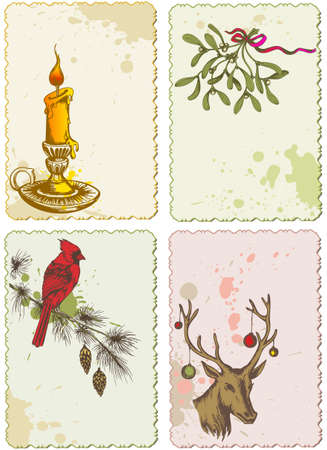 mistletoe: vector retro Christmas greeting cards