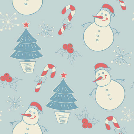 Seamless pattern with snowman and Christmas decorations Vector