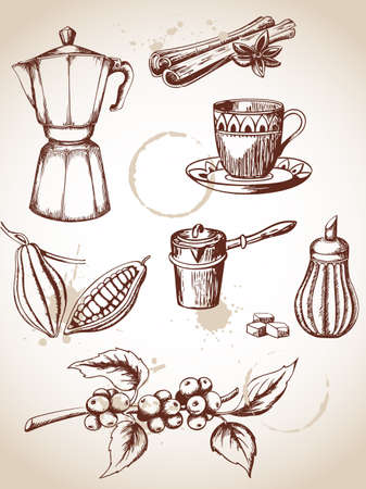cinnamon: set of vintage coffee and cocoa icons
