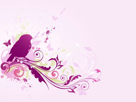 Abstract vector background with bird and floral ornament