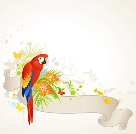 vector summer banner with floral ornament and parrot Vector