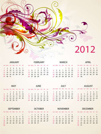calendar design for 2012 with bright floral  ornament
