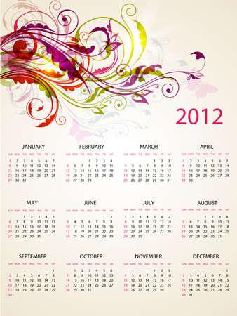 Progettazione calendario per il 2012 con brillanti ornamenti floreali Archivio Fotografico - 11377521