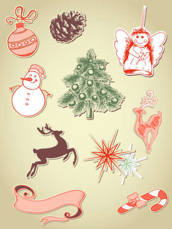 set of retro vector Christmas elements Vector