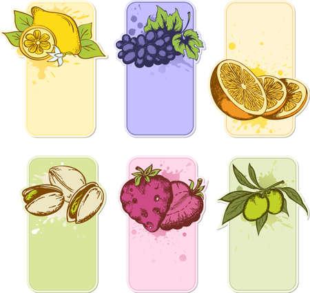 pistachio: set of hand drawn vector fruit labels