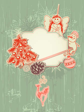 vector scrap booking kit for Christmas Illustration