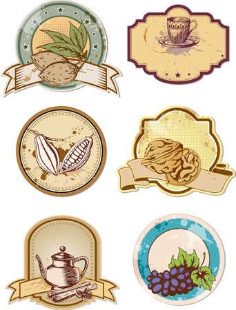 amande: ensemble de vecteurs alimentaires dessin�s � la main et des �tiquettes boire Illustration