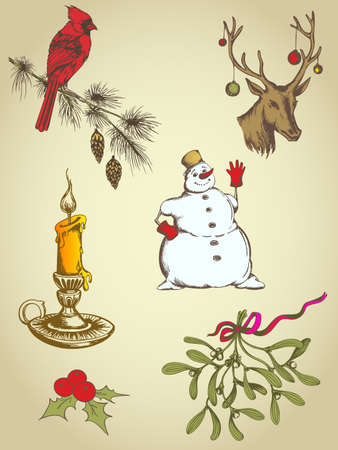 set of vintage vector hand drawn Christmas elements Vector