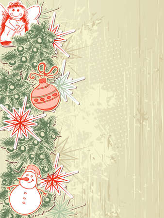 Vintage vector Christmas background with Christmas tree Vector