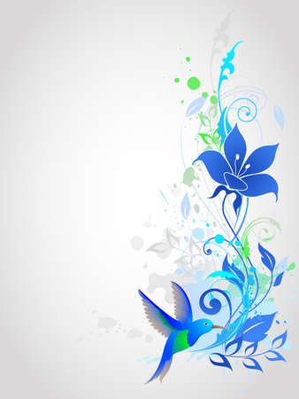 Blue vector  background with floral ornament and humming-bird