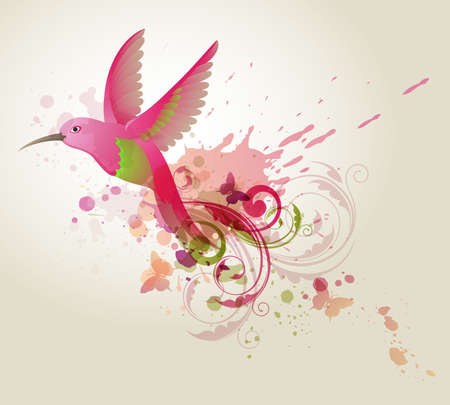 Abstract vector background with red humming-bird and blots