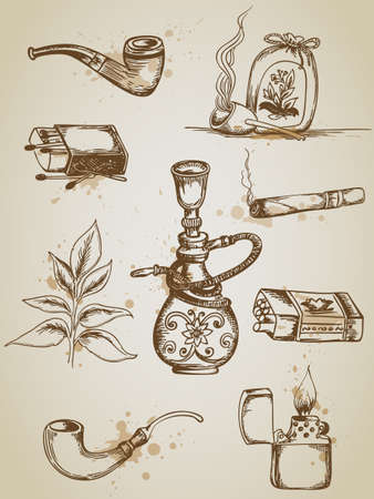tobacco pipe: Vintage hand drawn vector smoking and cigarette icons Illustration