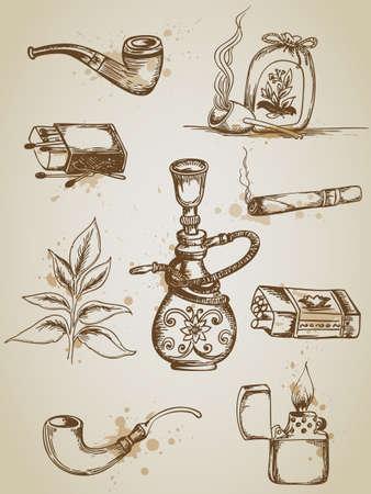 pipe smoking: Vintage Hand gezeichnet Vektor Rauchen und Zigarette Symbole