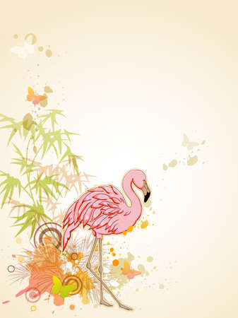 Vector background with Pink flamingo and butterflies
